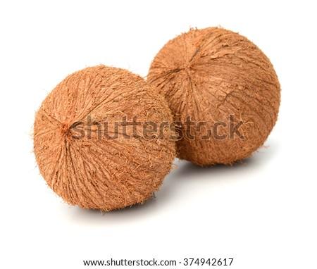 Fresh whole coconut isolated on white background - stock photo