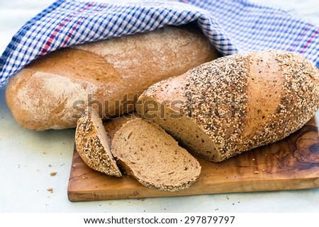 Fresh whole grain bread - stock photo