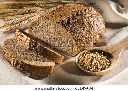 Fresh whole grain bread close up shoot - stock photo