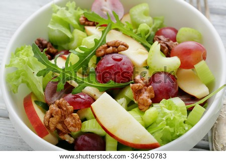 fresh  winter vegetables salad, food close-up  - stock photo
