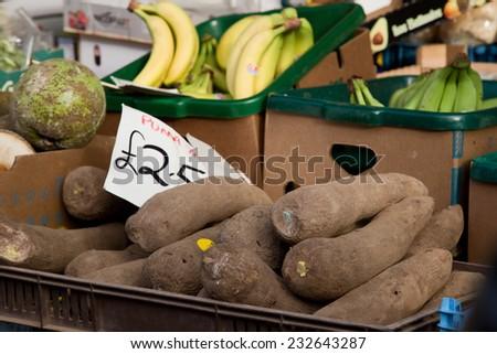 fresh yam at the market - stock photo