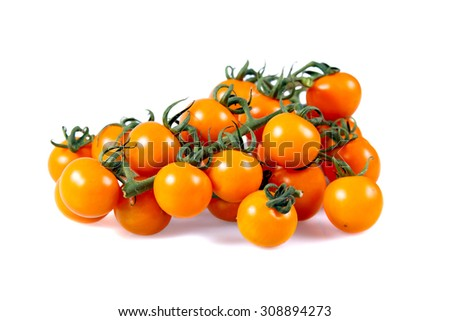 Fresh Yellow Baby plum tomatoes, on branch. isolated on white background - stock photo