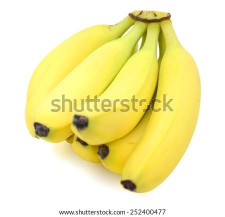 fresh yellow bananas on white background - stock photo