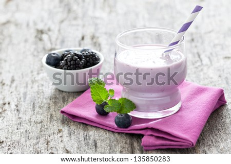 fresh yogurt drink with blueberries - stock photo