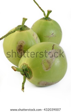 fresh young coconut on white background - stock photo