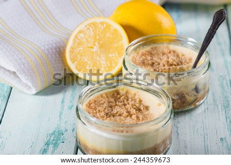 fresh zingy lemon cheesecake - stock photo