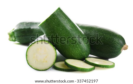 Fresh zucchini isolated on white - stock photo
