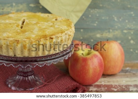Freshly baked apple pie with red apples.  - stock photo