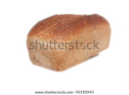 freshly baked Delicious Bread Loaf isolated on white - stock photo