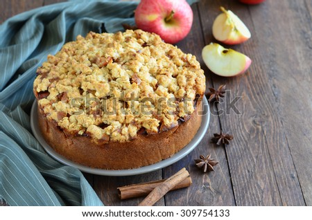 Freshly Baked Homemade Apple Pie with Oat Streusel, copy space, selective focus, horizontal - stock photo