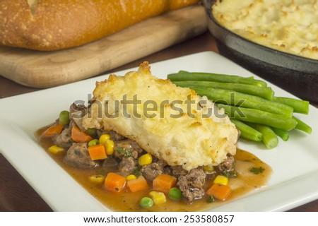 "freshly baked homemade shepherd's pie with beef and vegetables""shepherd's pie"", - stock photo"