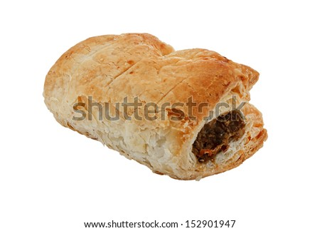 Freshly baked single sausage roll isolated against a white background a popular pastry snack available hot or cold at bakers in Britain - stock photo