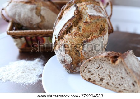 Freshly baked sliced bread - stock photo