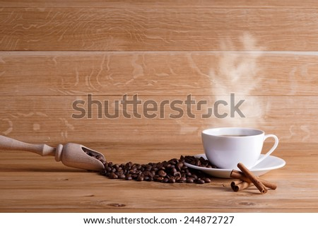 Freshly brewed coffee. Over coffee pairs. - stock photo