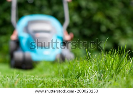 Freshly cut grass by blue lawnmower - stock photo