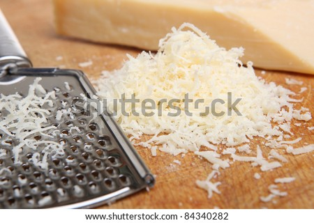 Freshly grated Parmesan cheese - stock photo