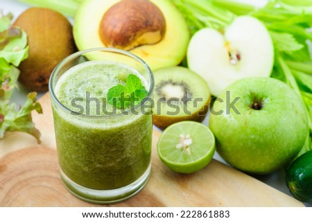 Freshly green vegetable and fruit smoothies - stock photo