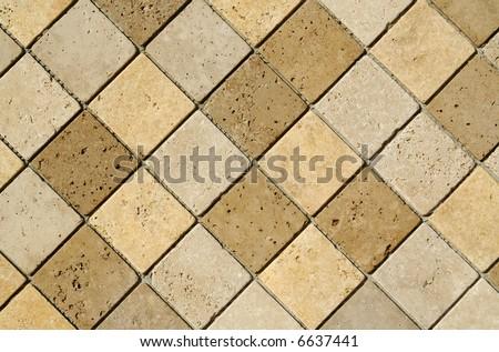 Freshly laid decorative wall tiles. - stock photo