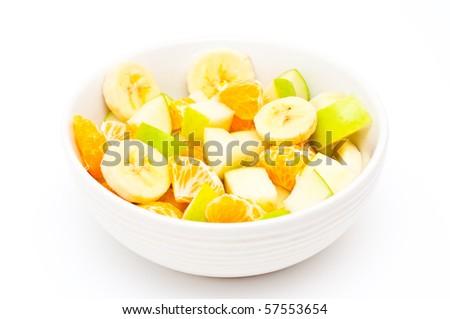 freshly made, light fruit salad - stock photo