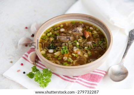 Freshly Made Soup with Beef, Vegetables, and Bone Broth as Base. - stock photo
