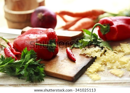 freshly prepared vegetables for cooking - stock photo