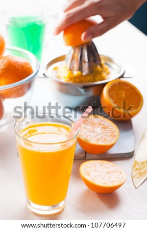 Freshly pressed orange juice - stock photo