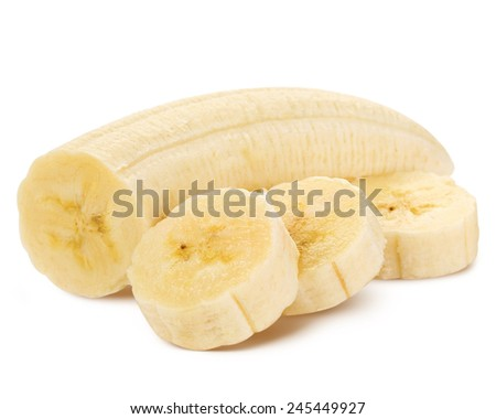 Freshly sliced bananas on a white background Clipping Path  - stock photo