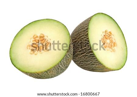 Freshly sliced cantaloupe melon on white background - stock photo