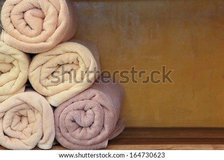 Freshly washed rolled towels - stock photo