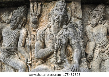 Freske Hindu temple Prombanan complex in Yogjakarta in Java, indonesia - stock photo