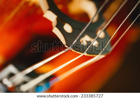 fretboard with string of old shabby cello. Selective soft focus on string - stock photo