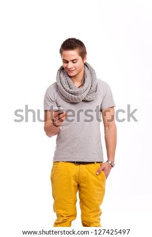 Freundlicher Junger Mann mit Smartphone - stock photo