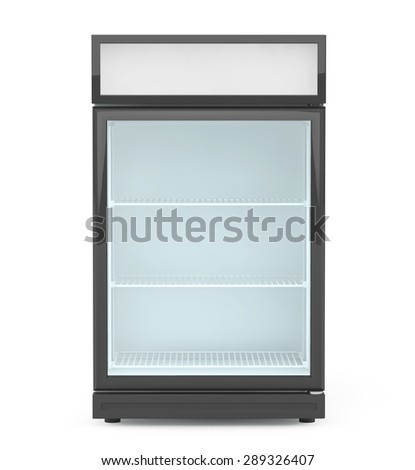Fridge Drink with glass door on a white background.  - stock photo