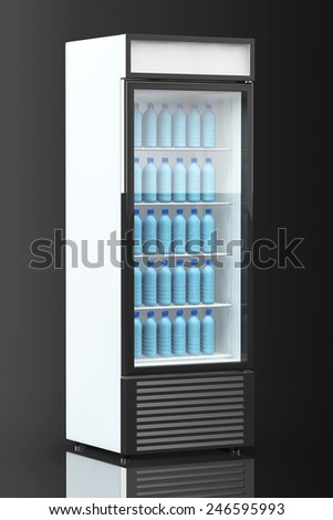 Fridge Drink with water bottles on a black background - stock photo