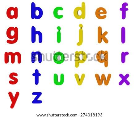 Fridge Magnet Lowercase Alphabet Letters Isolated on White - stock photo