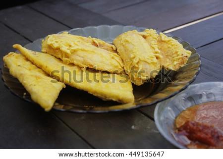 fried banana and tempe - stock photo