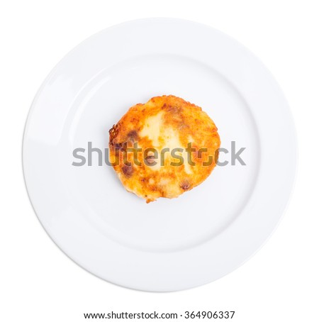 Fried battered chicken cutlet with mushrooms. Isolated on a white background. - stock photo