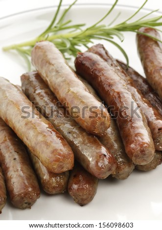 Fried Breakfast Sausage Links,Close Up - stock photo