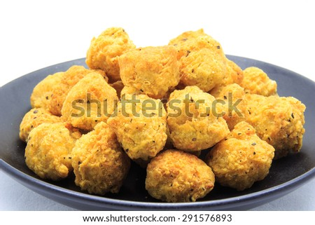 fried chicken balls on a white background - stock photo