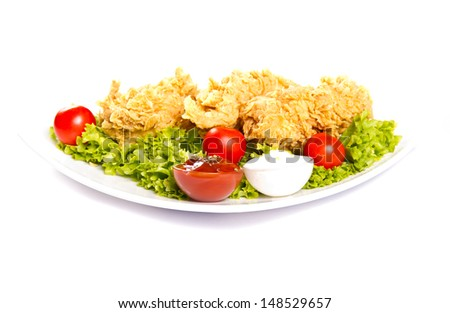 Fried chicken breast on a plate - stock photo