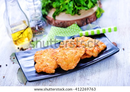 fried chicken cutlet - stock photo