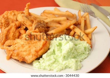 fried chicken, french fries with gravy and coleslaw dinner - stock photo