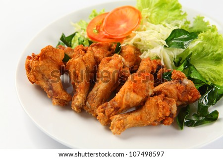 fried chicken in white plate - stock photo
