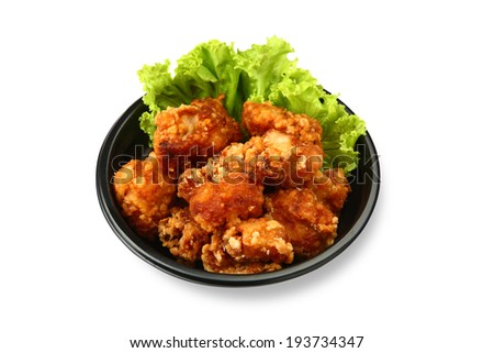fried chicken isolated on white background - stock photo