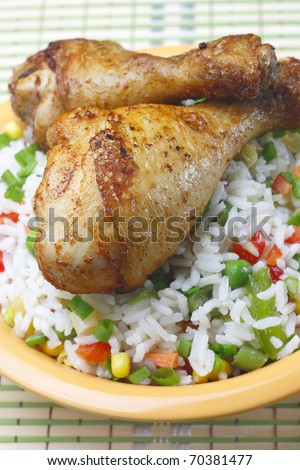 Fried chicken leg - stock photo
