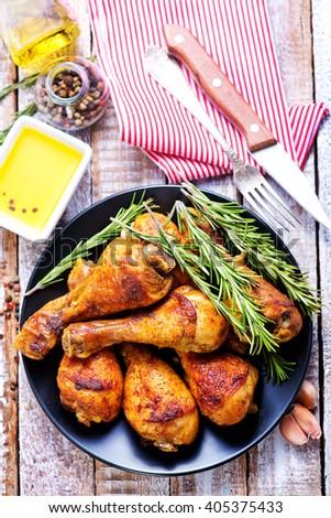 fried chicken legs - stock photo