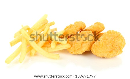 Fried chicken nuggets with french fries isolated on white - stock photo
