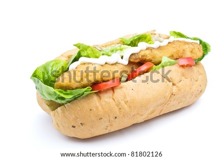 Fried Chicken Sub sandwich from low perspective isolated on white. - stock photo