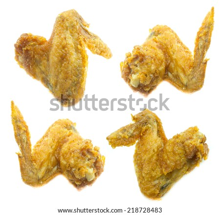 Fried Chicken Wing Isolation on white background - stock photo