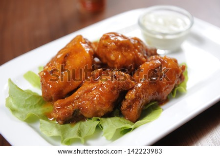 fried chicken wings - stock photo